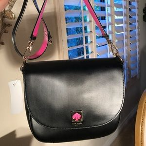 Kate Spade Blk Lthr Saddle Bag w/Hot Pink & Gold